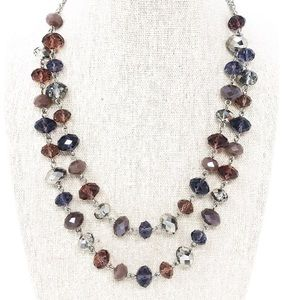 Lucky Brand Silver Tone Beaded Statement Necklace